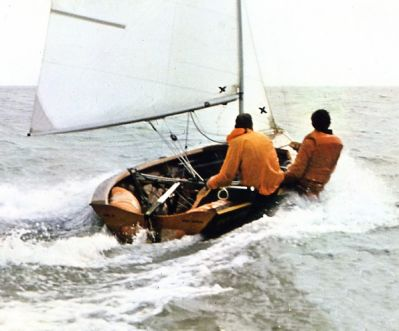 Keith Callaghan and Patrick Blake in Merlin Rocket 2713 'Myth Isle' at Hastings, c1973
